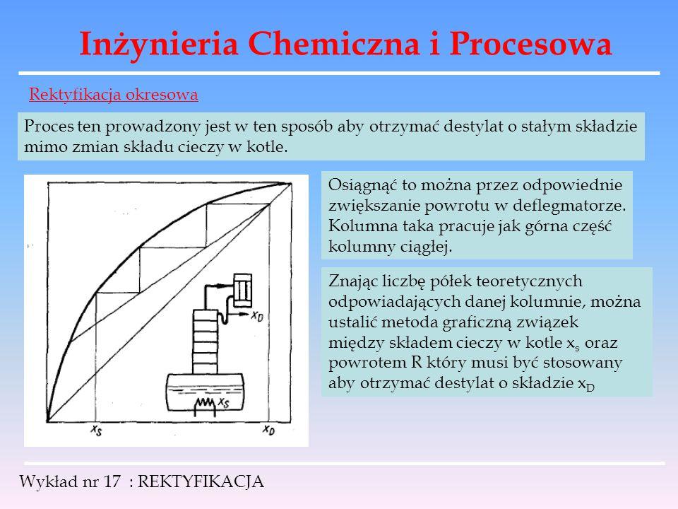 Inżynieria Chemiczna i Procesowa Wykład nr 17 : REKTYFIKACJA Rektyfikacja okresowa Proces ten prowadzony jest w ten sposób aby otrzymać destylat o sta