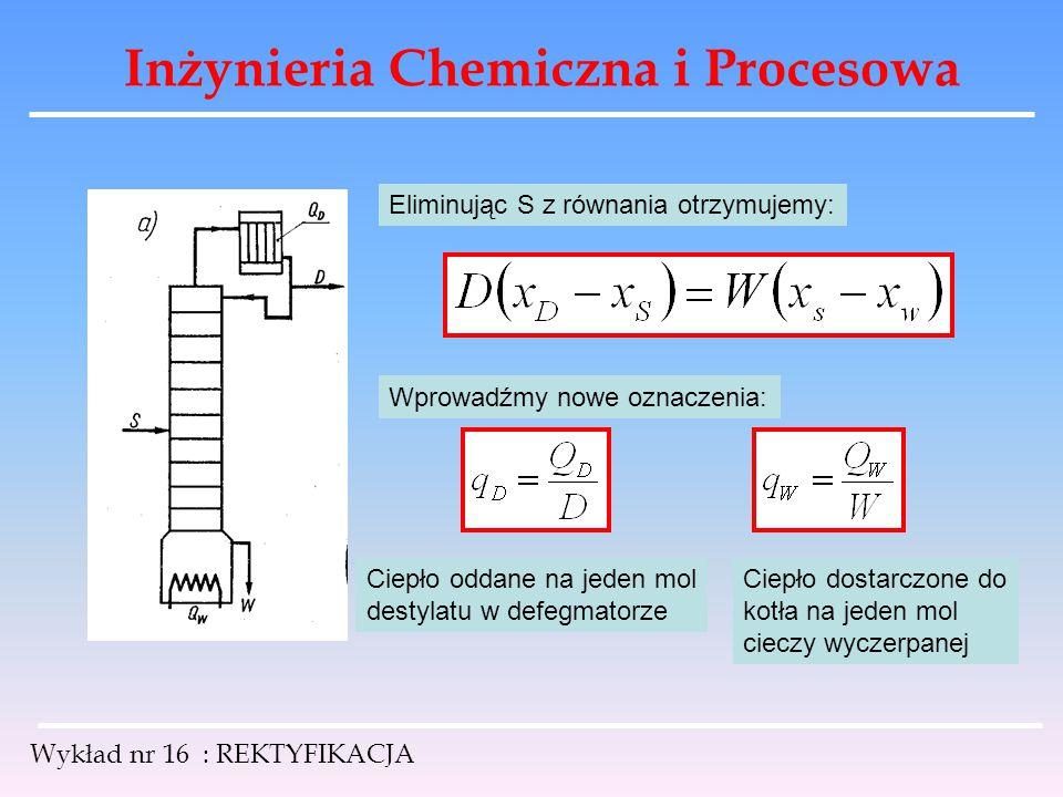 Inżynieria Chemiczna i Procesowa Wykład nr 16 : REKTYFIKACJA Eliminując S z równania otrzymujemy: Wprowadźmy nowe oznaczenia: Ciepło oddane na jeden m