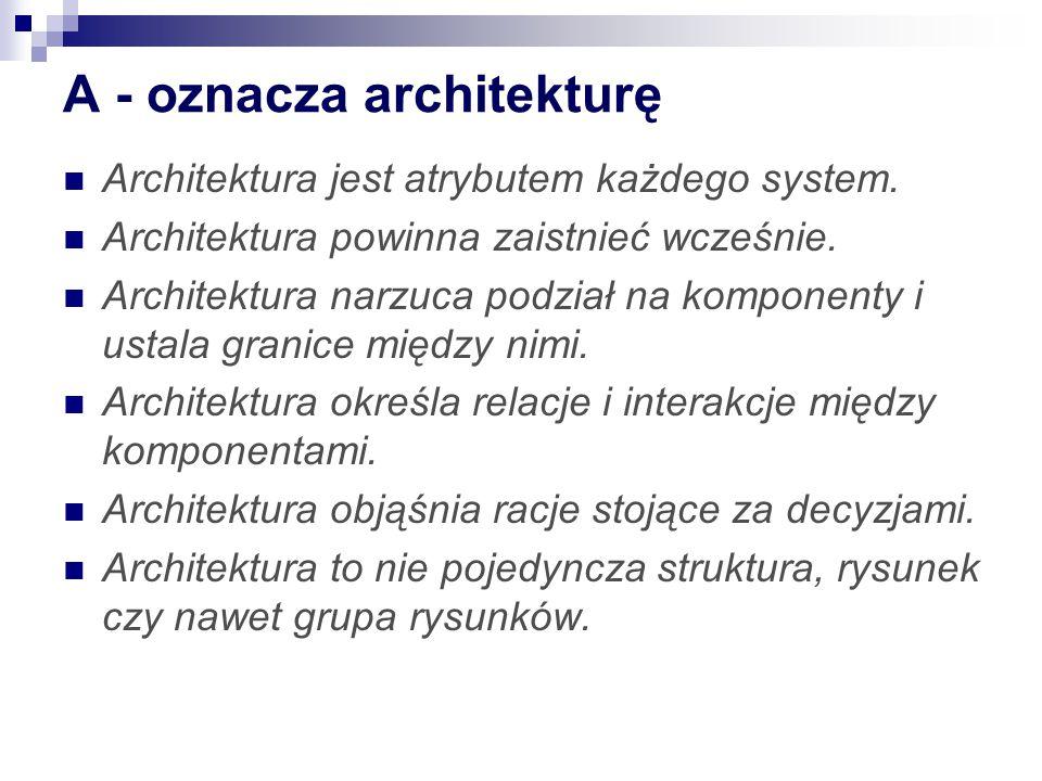 A - oznacza architekturę Architektura jest atrybutem każdego system.