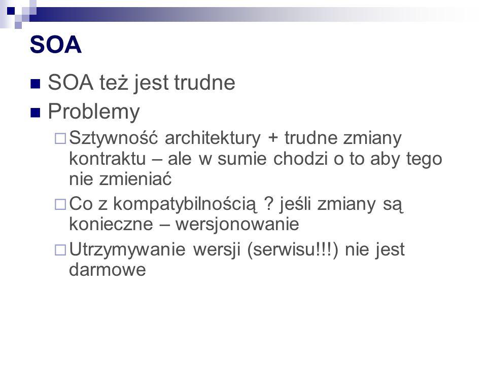 SOA SOA też jest trudne Problemy  Sztywność architektury + trudne zmiany kontraktu – ale w sumie chodzi o to aby tego nie zmieniać  Co z kompatybilnością .