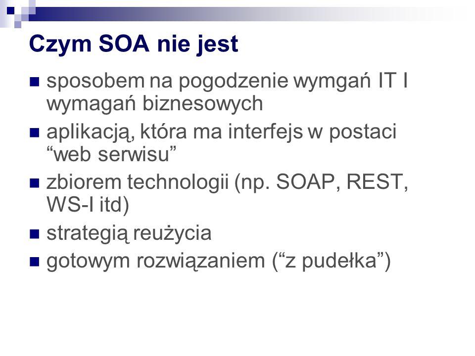 Czym SOA nie jest sposobem na pogodzenie wymgań IT I wymagań biznesowych aplikacją, która ma interfejs w postaci web serwisu zbiorem technologii (np.