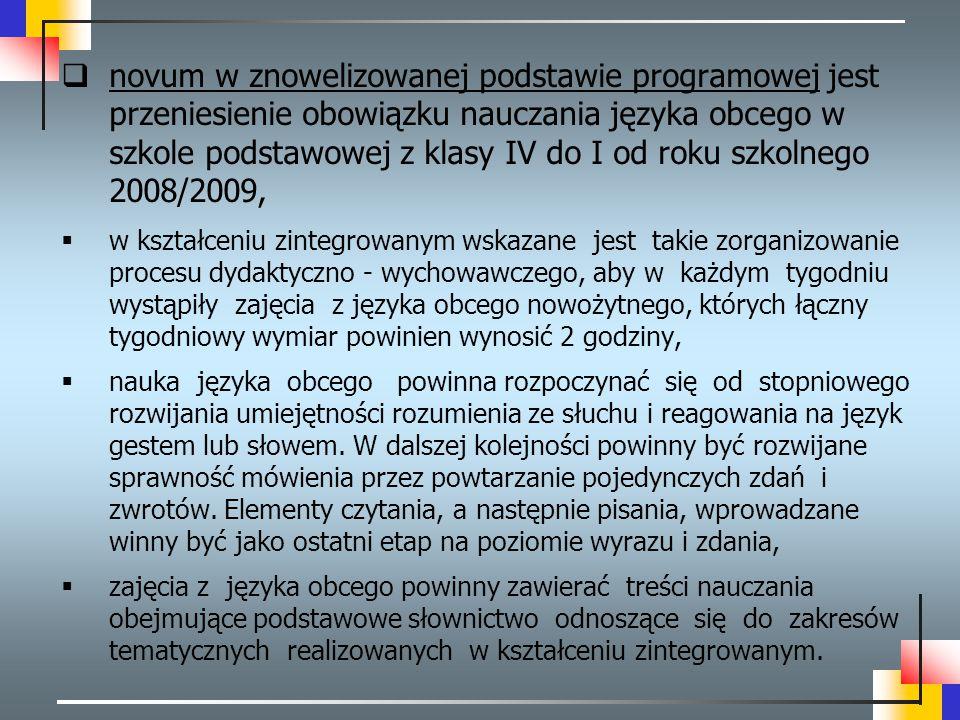  novum w znowelizowanej podstawie programowej jest przeniesienie obowiązku nauczania języka obcego w szkole podstawowej z klasy IV do I od roku szkol
