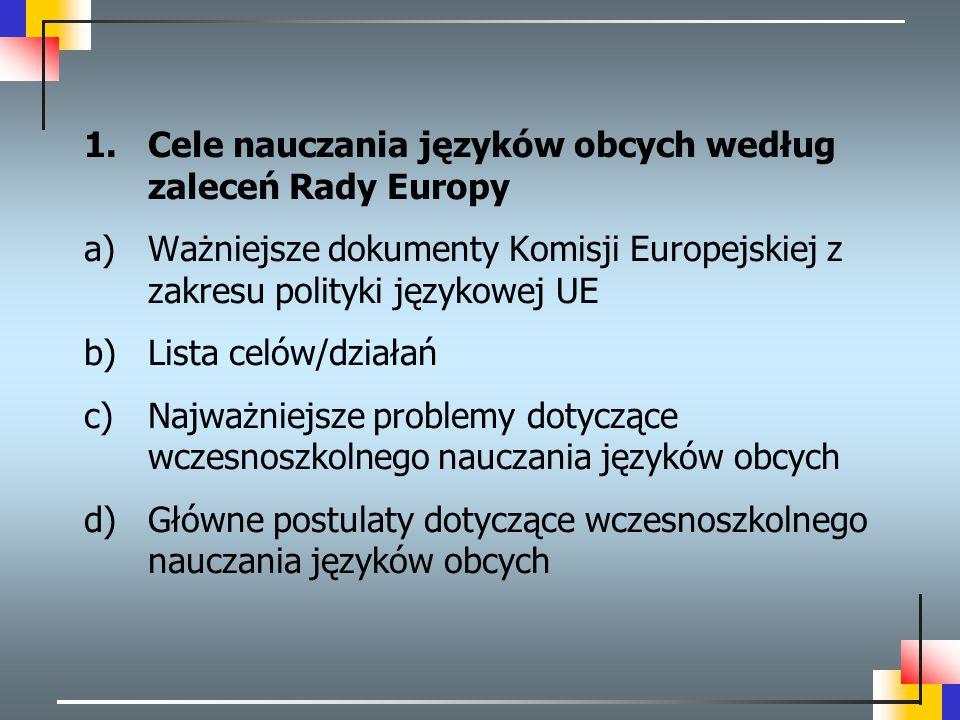 1.Cele nauczania języków obcych według zaleceń Rady Europy a)Ważniejsze dokumenty Komisji Europejskiej z zakresu polityki językowej UE b)Lista celów/d