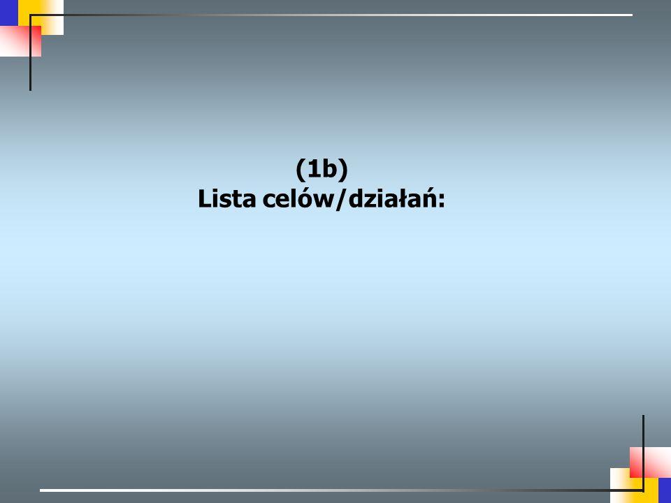 (1b) Lista celów/działań: