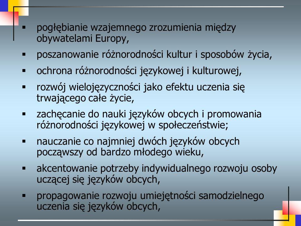  pogłębianie wzajemnego zrozumienia między obywatelami Europy,  poszanowanie różnorodności kultur i sposobów życia,  ochrona różnorodności językowe