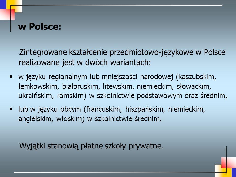 w Polsce: Zintegrowane kształcenie przedmiotowo-językowe w Polsce realizowane jest w dwóch wariantach:  w języku regionalnym lub mniejszości narodowe