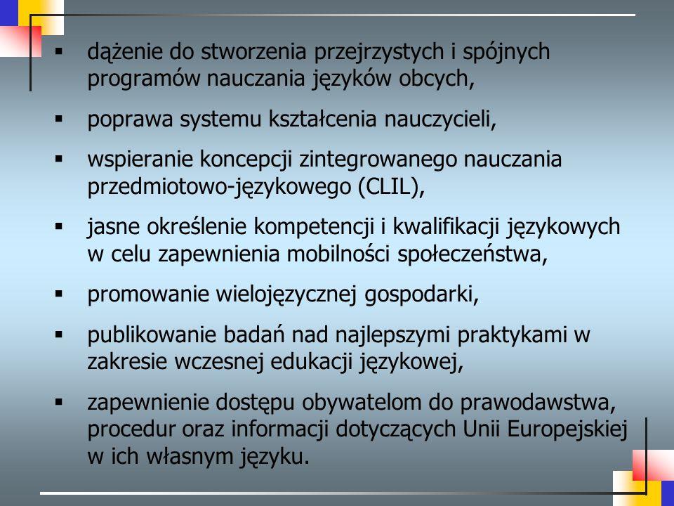  dążenie do stworzenia przejrzystych i spójnych programów nauczania języków obcych,  poprawa systemu kształcenia nauczycieli,  wspieranie koncepcji
