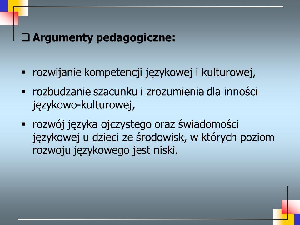  Argumenty pedagogiczne:  rozwijanie kompetencji językowej i kulturowej,  rozbudzanie szacunku i zrozumienia dla inności językowo-kulturowej,  roz