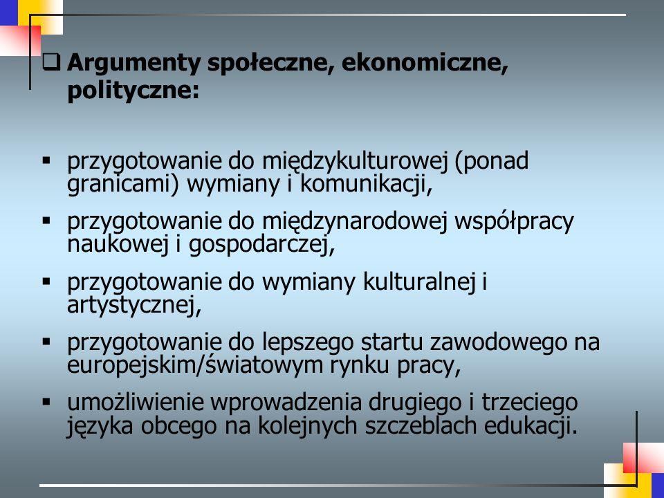  Argumenty społeczne, ekonomiczne, polityczne:  przygotowanie do międzykulturowej (ponad granicami) wymiany i komunikacji,  przygotowanie do między