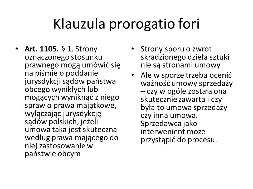Klauzula prorogatio fori Art.1105. § 1.