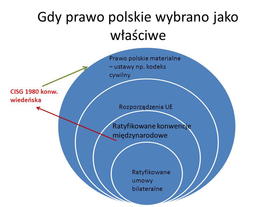 Gdy prawo polskie wybrano jako właściwe Prawo polskie materialne – ustawy np.