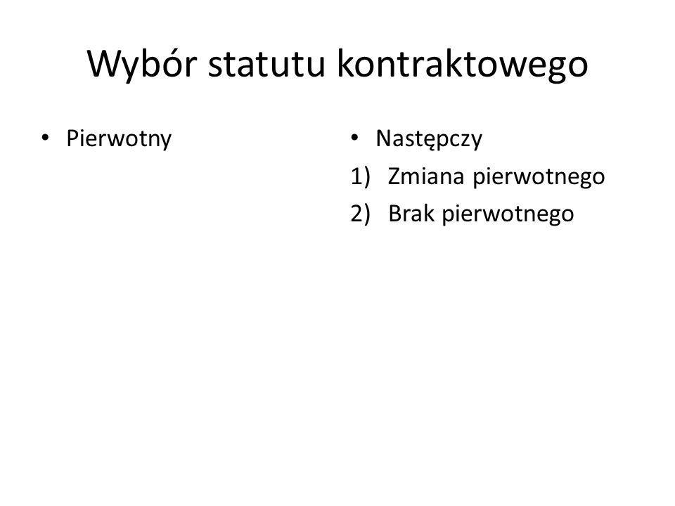 Wybór statutu kontraktowego Pierwotny Następczy 1)Zmiana pierwotnego 2)Brak pierwotnego