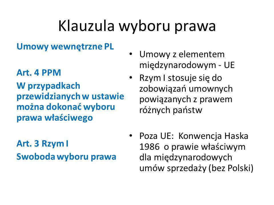 Klauzula wyboru prawa Umowy wewnętrzne PL Art.