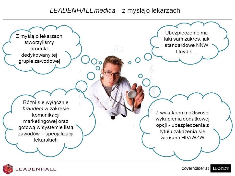 LEADENHALL medica – z myślą o lekarzach Z myślą o lekarzach stworzyliśmy produkt dedykowany tej grupie zawodowej Ubezpieczenie ma taki sam zakres, jak