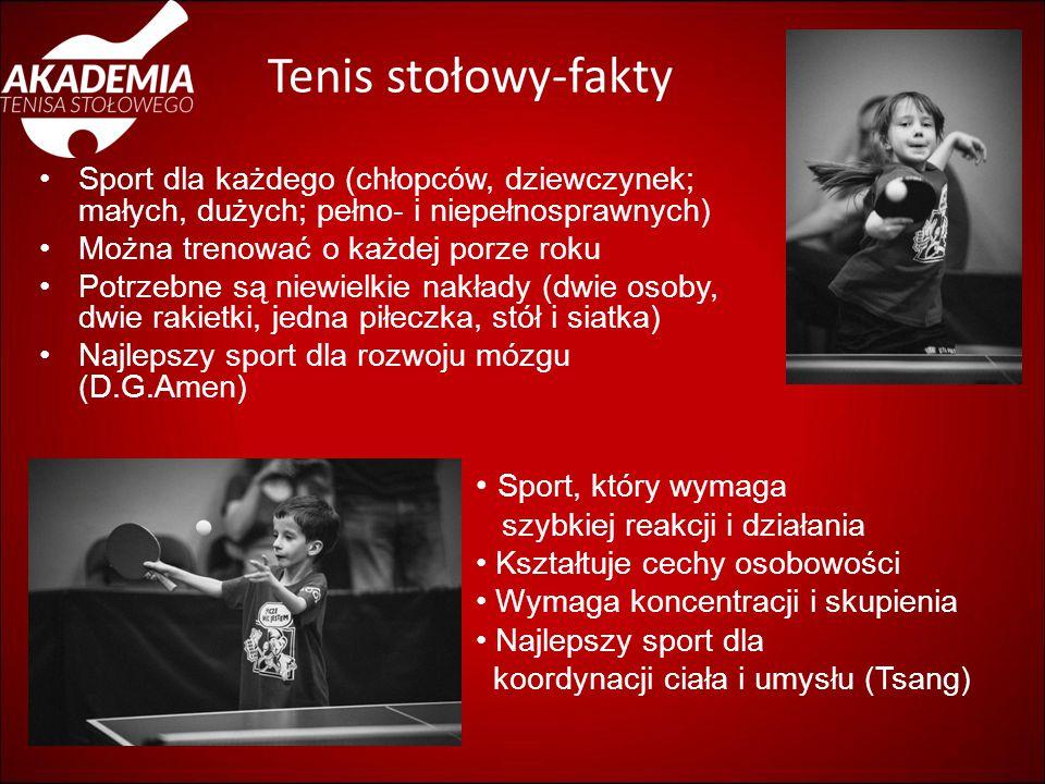 Tenis stołowy-fakty Sport dla każdego (chłopców, dziewczynek; małych, dużych; pełno- i niepełnosprawnych) Można trenować o każdej porze roku Potrzebne