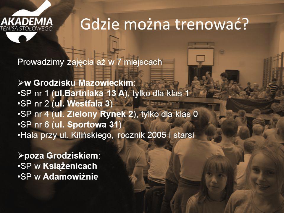 Prowadzimy zajęcia aż w 7 miejscach  w Grodzisku Mazowieckim: SP nr 1 (ul.Bartniaka 13 A), tylko dla klas 1 SP nr 2 (ul. Westfala 3) SP nr 4 (ul. Zie