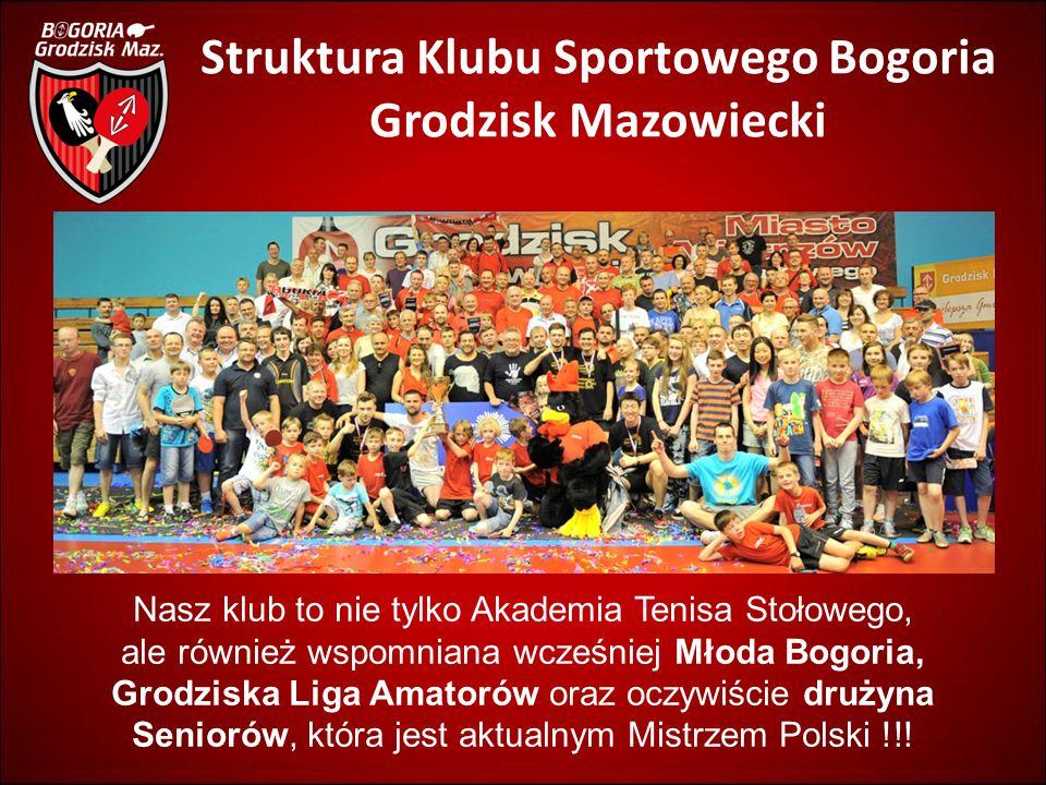 Struktura Klubu Sportowego Bogoria Grodzisk Mazowiecki Nasz klub to nie tylko Akademia Tenisa Stołowego, ale również wspomniana wcześniej Młoda Bogori