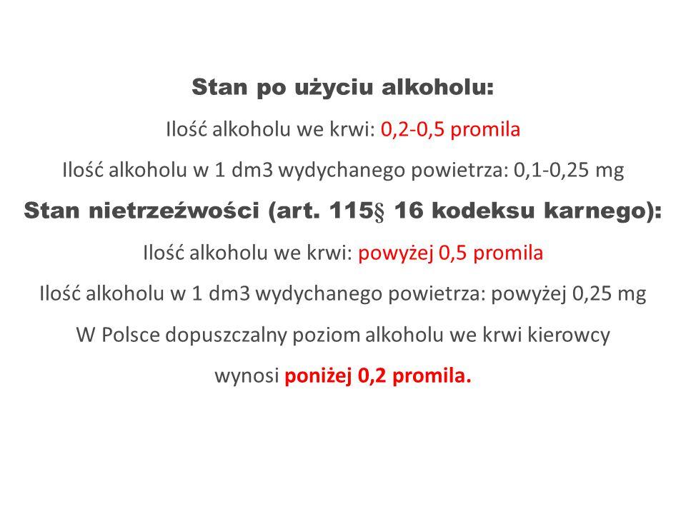 Inne kary za prowadzenie pojazdu pod wpływem alkoholu: Za prowadzenie pojazd po użyciu alkoholu, gdy zawartość alkoholu we krwi wynosi od 0,2 do 0,5 promila, kierowcy grozi zakaz prowadzenia pojazd ó w do lat 3 oraz 30 dni aresztu lub grzywna do 5000 zł.