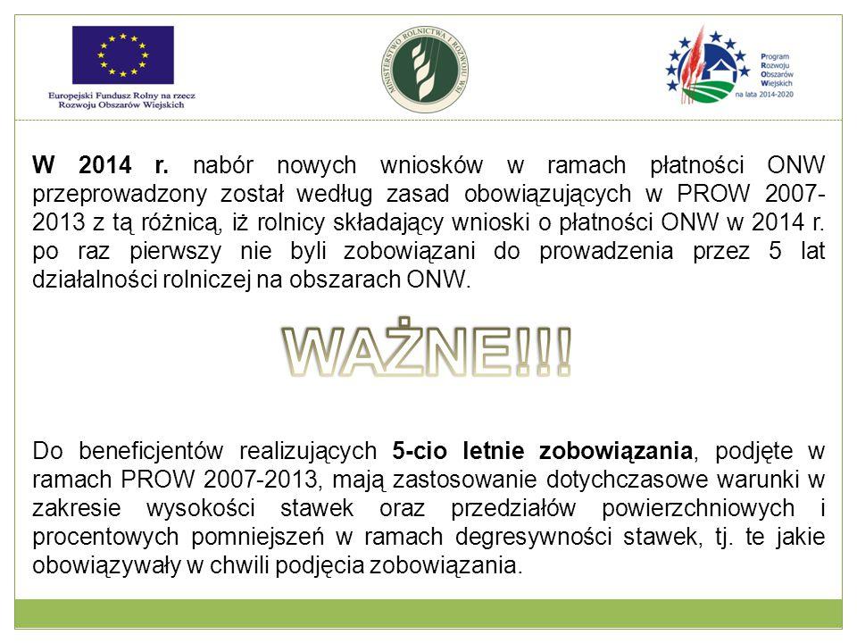 W 2014 r. nabór nowych wniosków w ramach płatności ONW przeprowadzony został według zasad obowiązujących w PROW 2007- 2013 z tą różnicą, iż rolnicy sk