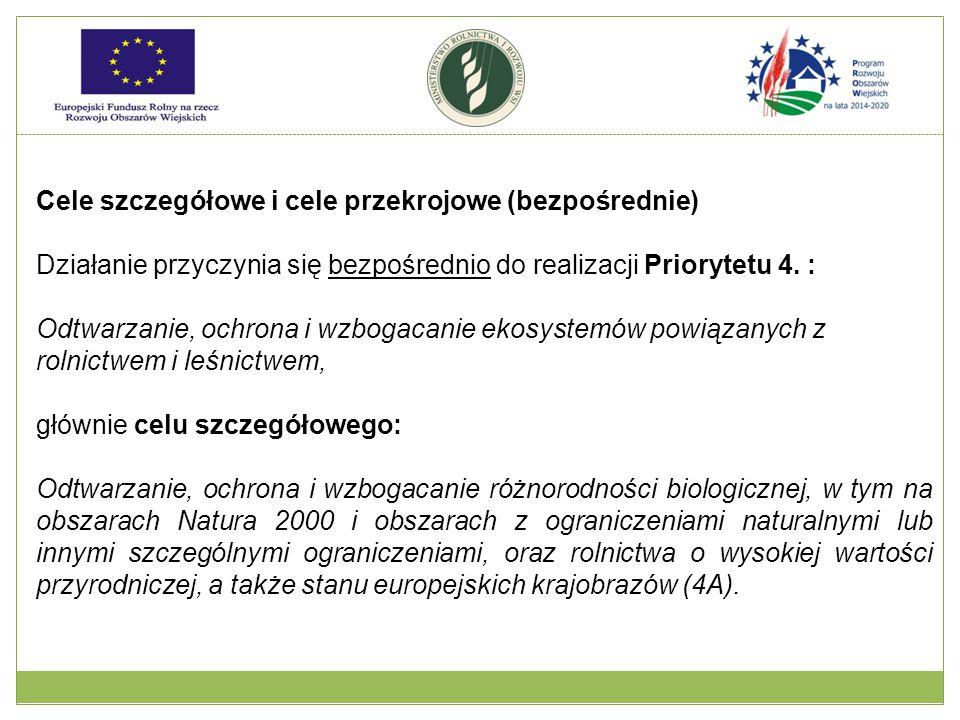 Cele szczegółowe i cele przekrojowe (pośrednie)  w ramach priorytetu 4.: poprawa gospodarki wodnej, w tym nawożenia i stosowania pestycydów (4B); zapobiegania erozji gleby i poprawy gospodarowania glebą (4C).