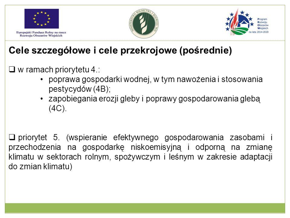 Cele szczegółowe i cele przekrojowe (pośrednie)  w ramach priorytetu 4.: poprawa gospodarki wodnej, w tym nawożenia i stosowania pestycydów (4B); zap