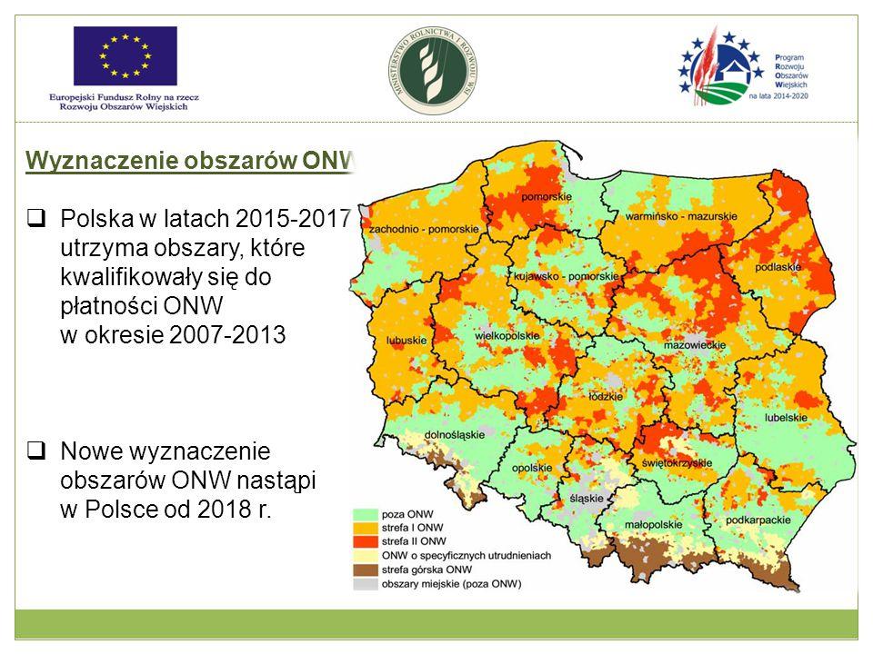 Wyznaczenie obszarów ONW  Polska w latach 2015-2017, utrzyma obszary, które kwalifikowały się do płatności ONW w okresie 2007-2013  Nowe wyznaczenie