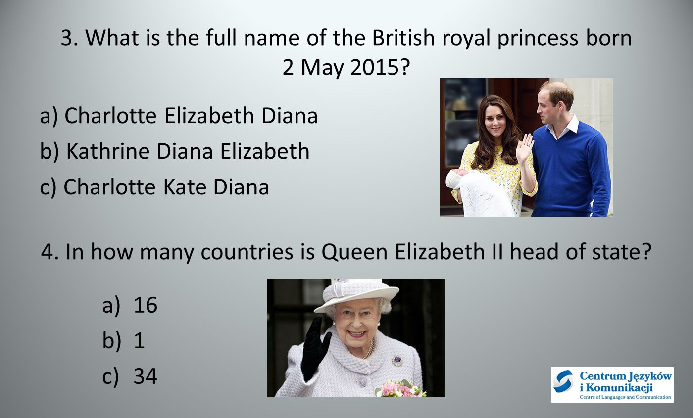 3. What is the full name of the British royal princess born 2 May 2015? a) Charlotte Elizabeth Diana b) Kathrine Diana Elizabeth c) Charlotte Kate Dia