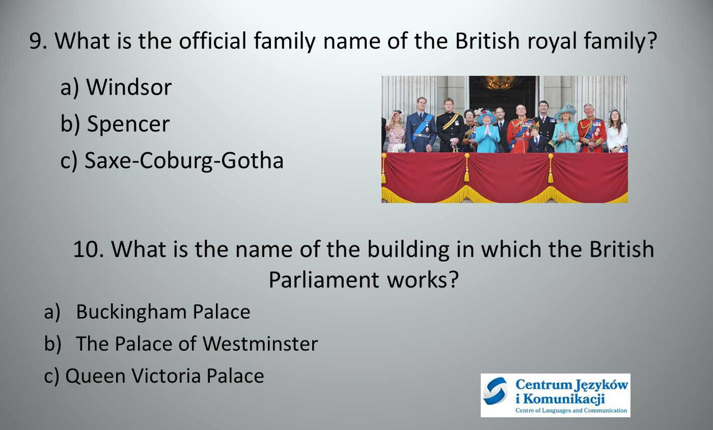 9.What is the official family name of the British royal family.