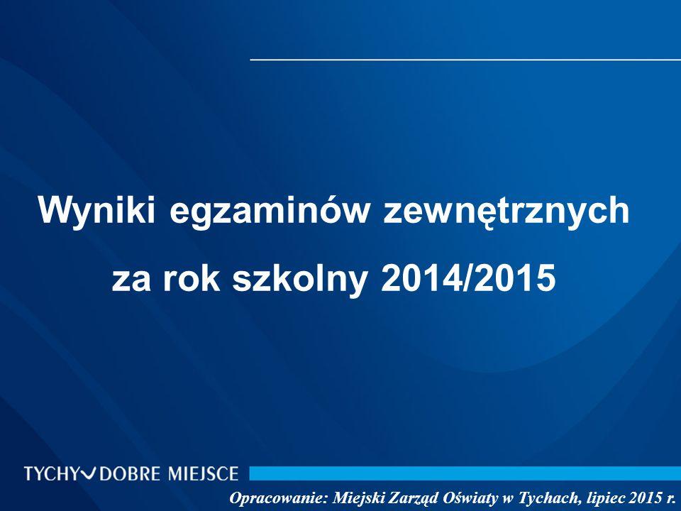 Wyniki egzaminów zewnętrznych za rok szkolny 2014/2015 Opracowanie: Miejski Zarząd Oświaty w Tychach, lipiec 2015 r.