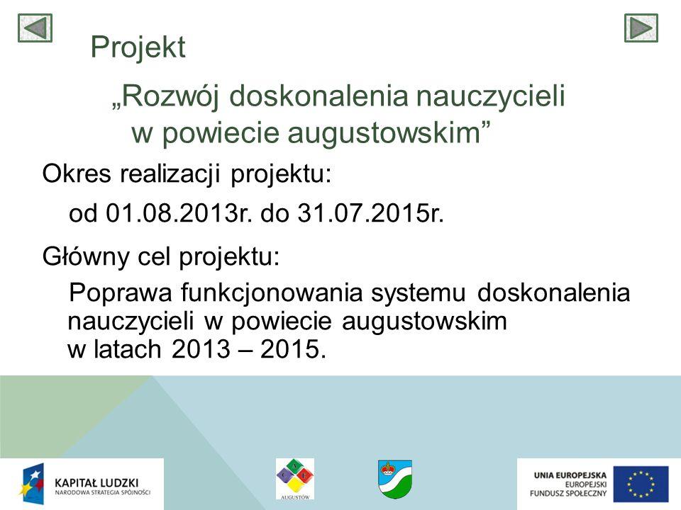 Cele szczegółowe projektu :  Poprawa efektywności procesu badania potrzeb dydaktycznych oraz planowania wsparcia szkół i przedszkoli w powiecie augustowskim.