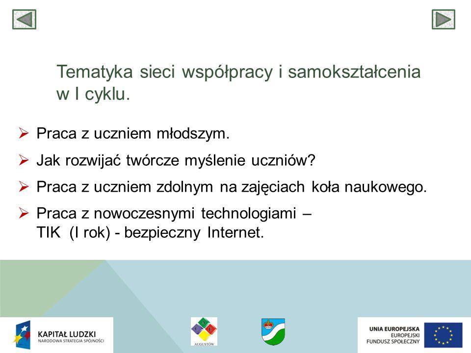 Tematyka sieci współpracy i samokształcenia w I cyklu.