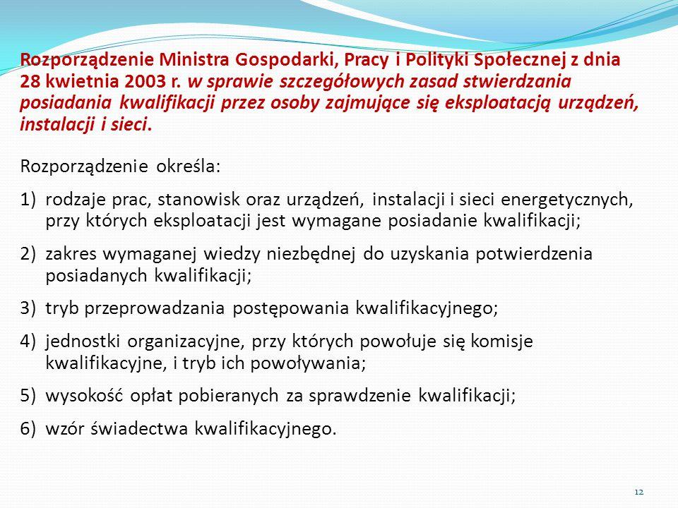 Rozporządzenie Ministra Gospodarki, Pracy i Polityki Społecznej z dnia 28 kwietnia 2003 r. w sprawie szczegółowych zasad stwierdzania posiadania kwali
