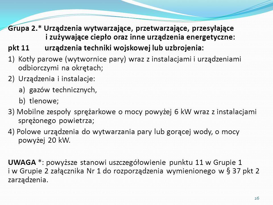 Grupa 2.* Urządzenia wytwarzające, przetwarzające, przesyłające i zużywające ciepło oraz inne urządzenia energetyczne: pkt 11 urządzenia techniki wojs