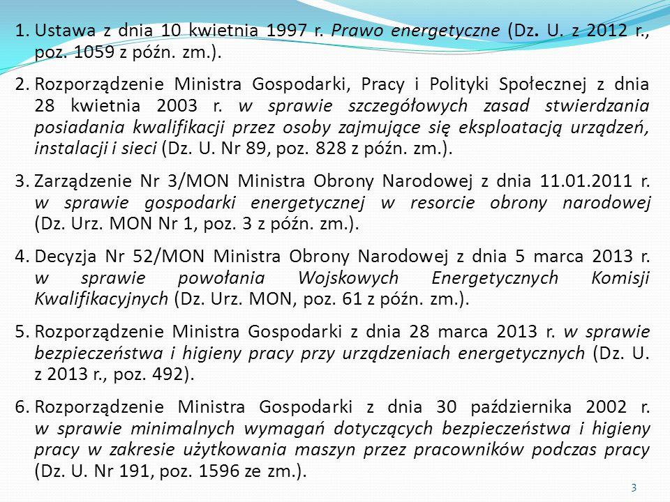 1.Ustawa z dnia 10 kwietnia 1997 r. Prawo energetyczne (Dz. U. z 2012 r., poz. 1059 z późn. zm.). 2.Rozporządzenie Ministra Gospodarki, Pracy i Polity