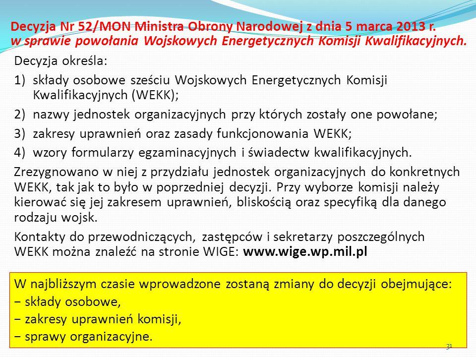 Decyzja Nr 52/MON Ministra Obrony Narodowej z dnia 5 marca 2013 r. w sprawie powołania Wojskowych Energetycznych Komisji Kwalifikacyjnych. Decyzja okr