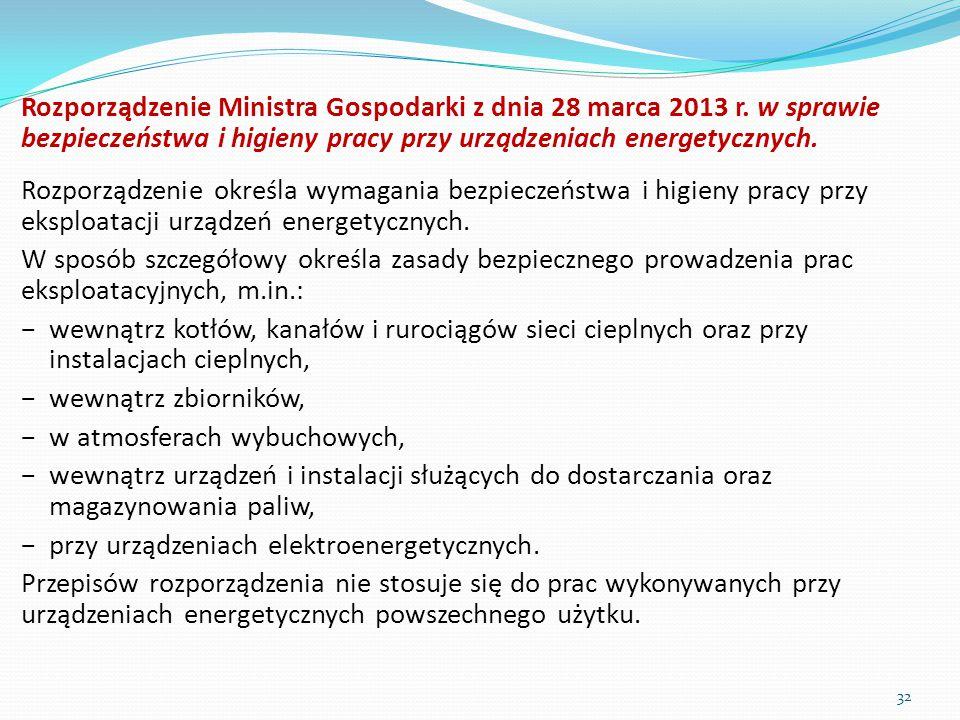 Rozporządzenie Ministra Gospodarki z dnia 28 marca 2013 r. w sprawie bezpieczeństwa i higieny pracy przy urządzeniach energetycznych. Rozporządzenie o