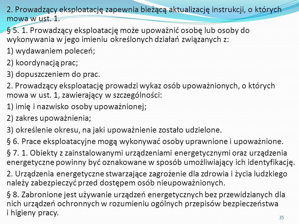 2. Prowadzący eksploatację zapewnia bieżącą aktualizację instrukcji, o których mowa w ust. 1. § 5. 1. Prowadzący eksploatację może upoważnić osobę lub