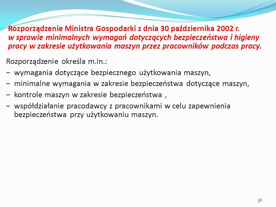 Rozporządzenie Ministra Gospodarki z dnia 30 października 2002 r. w sprawie minimalnych wymagań dotyczących bezpieczeństwa i higieny pracy w zakresie