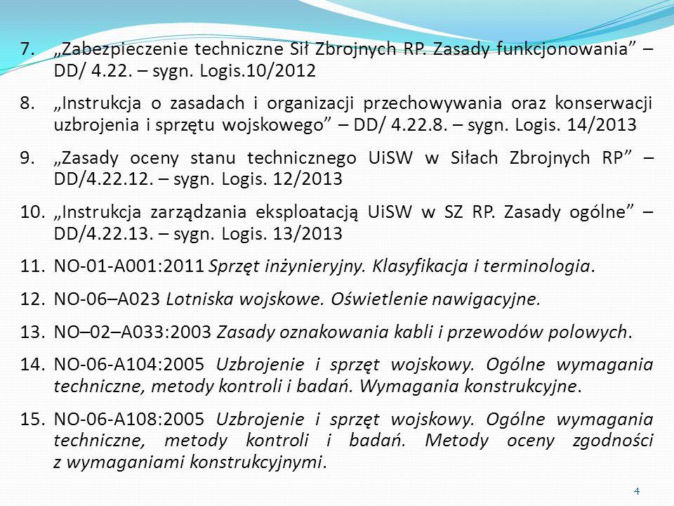 """7.""""Zabezpieczenie techniczne Sił Zbrojnych RP. Zasady funkcjonowania"""" – DD/ 4.22. – sygn. Logis.10/2012 8.""""Instrukcja o zasadach i organizacji przecho"""