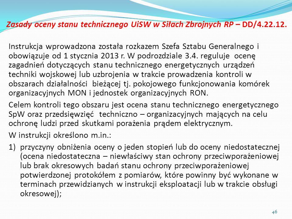 Zasady oceny stanu technicznego UiSW w Siłach Zbrojnych RP – DD/4.22.12. Instrukcja wprowadzona została rozkazem Szefa Sztabu Generalnego i obowiązuje