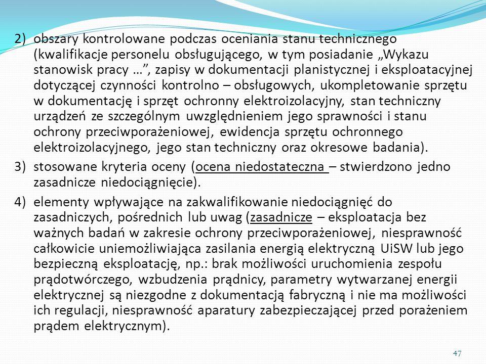 """2)obszary kontrolowane podczas oceniania stanu technicznego (kwalifikacje personelu obsługującego, w tym posiadanie """"Wykazu stanowisk pracy …"""", zapisy"""