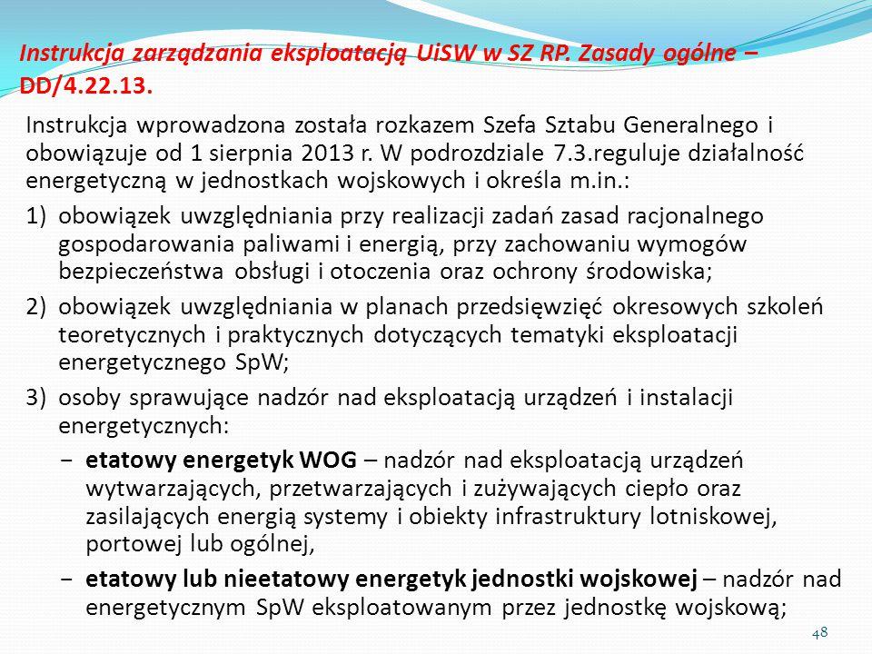 Instrukcja zarządzania eksploatacją UiSW w SZ RP. Zasady ogólne – DD/4.22.13. Instrukcja wprowadzona została rozkazem Szefa Sztabu Generalnego i obowi