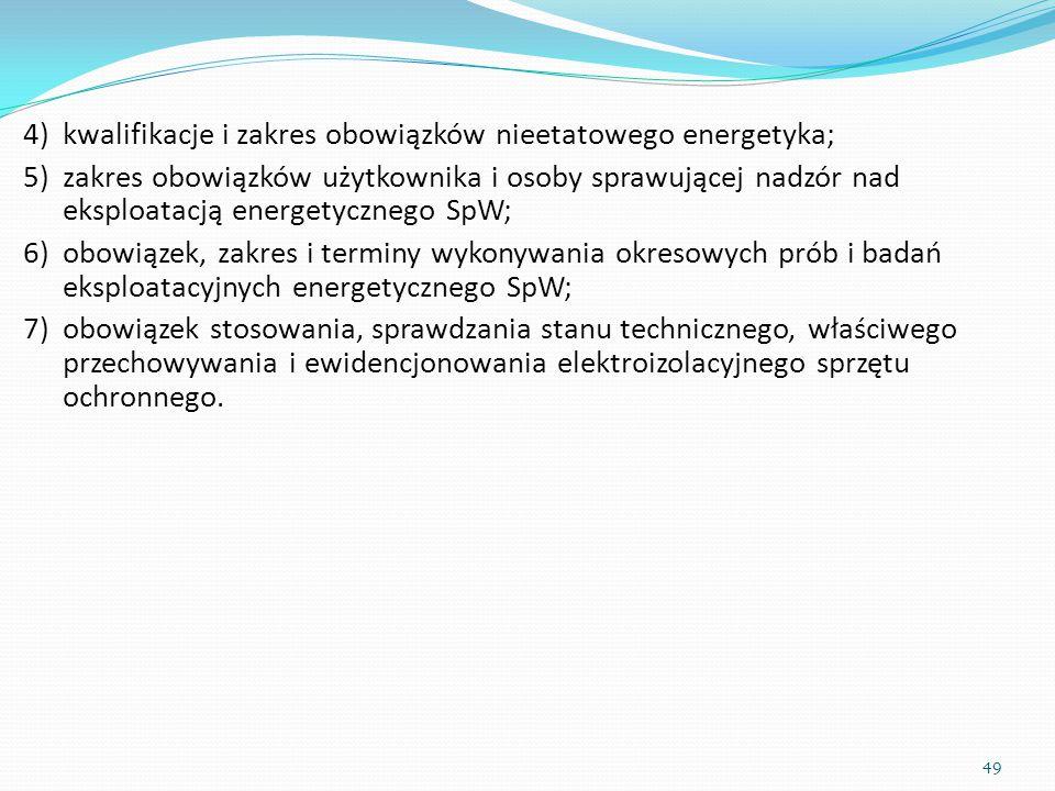 4)kwalifikacje i zakres obowiązków nieetatowego energetyka; 5)zakres obowiązków użytkownika i osoby sprawującej nadzór nad eksploatacją energetycznego