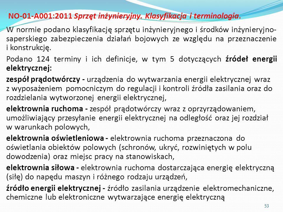 NO-01-A001:2011 Sprzęt inżynieryjny. Klasyfikacja i terminologia. W normie podano klasyfikację sprzętu inżynieryjnego i środków inżynieryjno- saperski