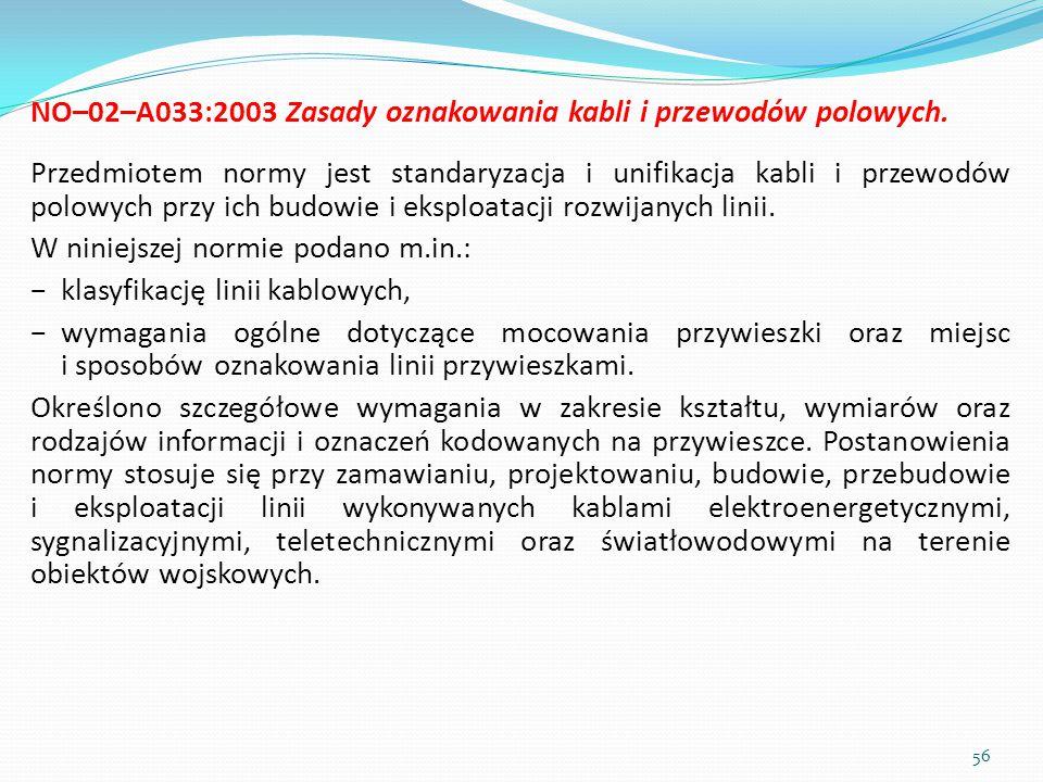 NO–02–A033:2003 Zasady oznakowania kabli i przewodów polowych. Przedmiotem normy jest standaryzacja i unifikacja kabli i przewodów polowych przy ich b
