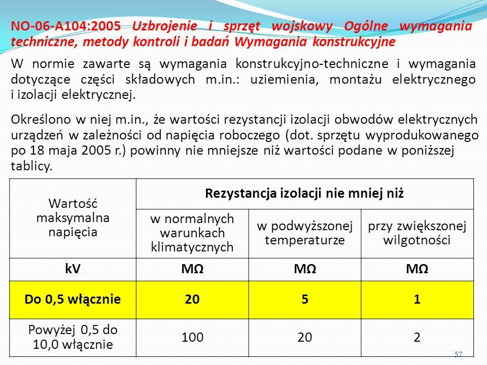 Określono w niej m.in., że wartości rezystancji izolacji obwodów elektrycznych urządzeń w zależności od napięcia roboczego (dot. sprzętu wyprodukowane