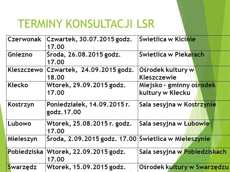 TERMINY KONSULTACJI LSR CzerwonakCzwartek, 30.07.2015 godz.