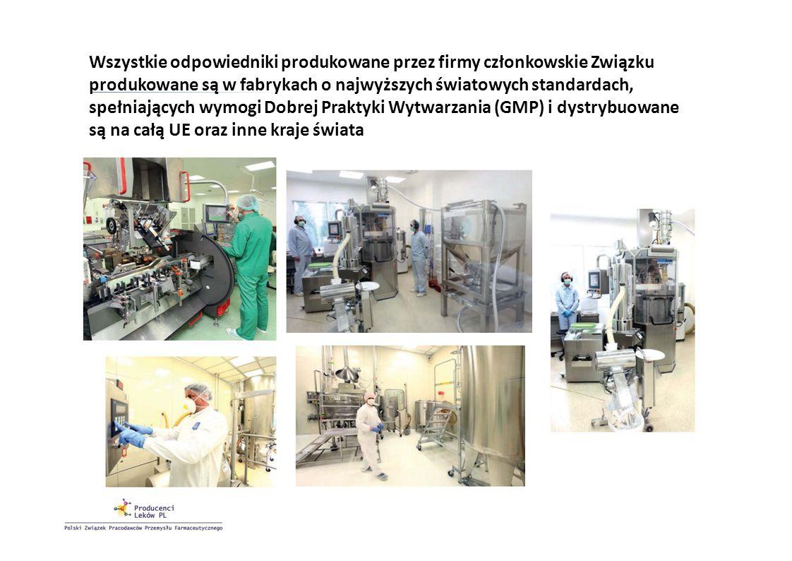 Wszystkie odpowiedniki produkowane przez firmy członkowskie Związku produkowane są w fabrykach o najwyższych światowych standardach, spełniających wym