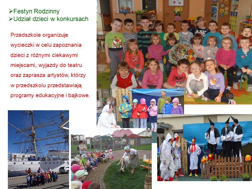  Festyn Rodzinny  Udział dzieci w konkursach Przedszkole organizuje wycieczki w celu zapoznania dzieci z różnymi ciekawymi miejscami, wyjazdy do tea