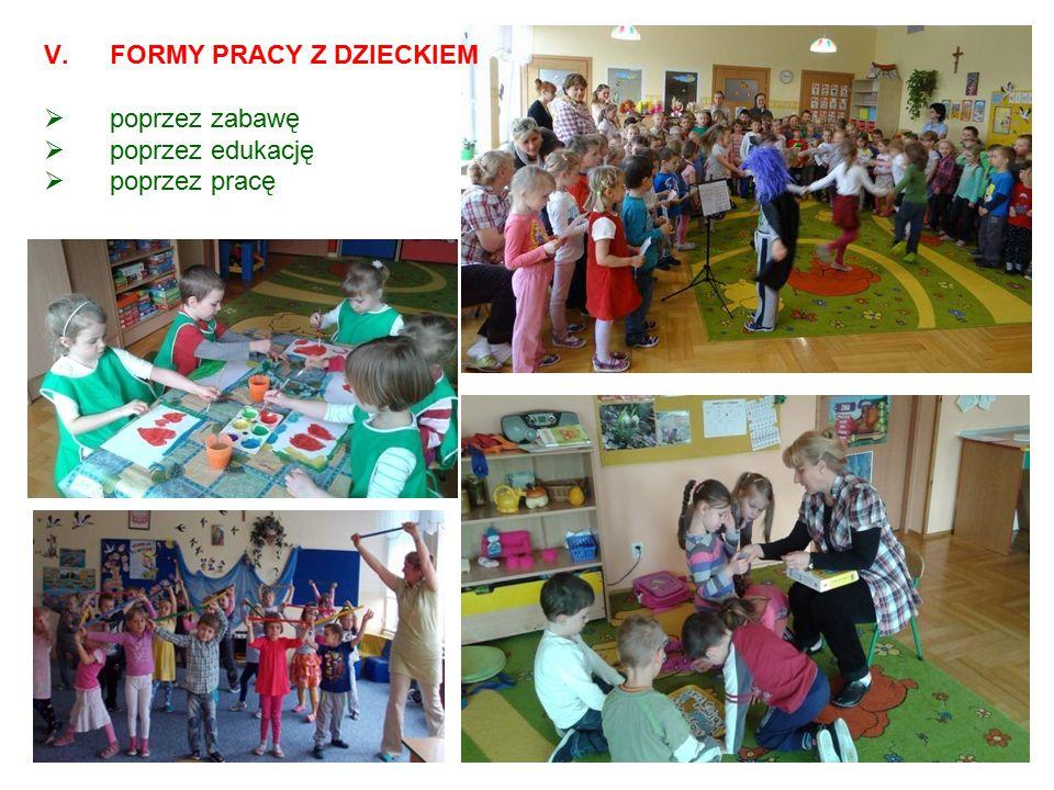 V.FORMY PRACY Z DZIECKIEM  poprzez zabawę  poprzez edukację  poprzez pracę